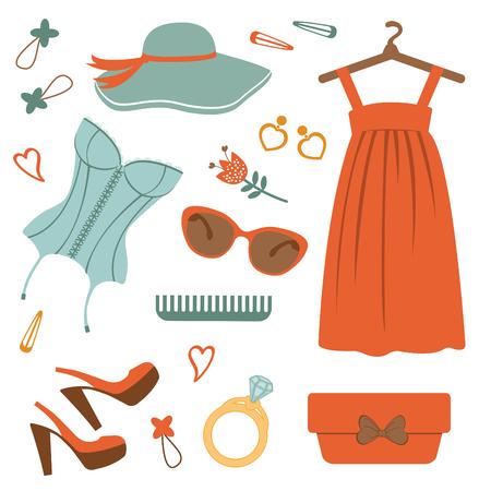 dressing room: Stylish fashion elements  colorful collection. vector illustration Illustration