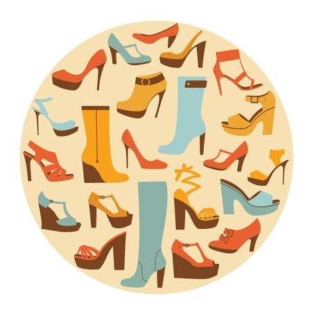 drawing room: Colorful stylish shoes round composition. Vector illustration
