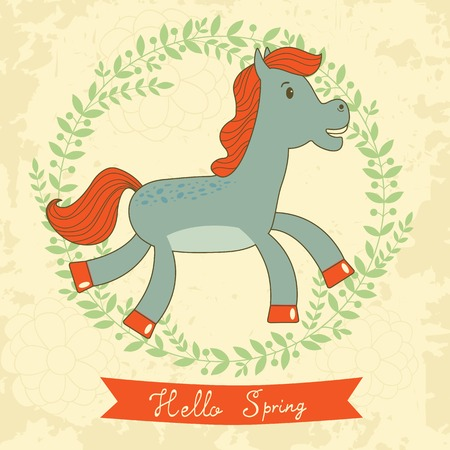 design design elemnt: Hello spring concept card with cute running horse. Vector illustration Illustration