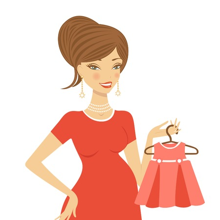 upcoming: Beautiful mom to be holding dress for her upcoming baby vector illustration Illustration