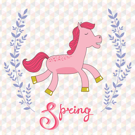 doodling: Spring concept card with cute running horse. Vector illustration