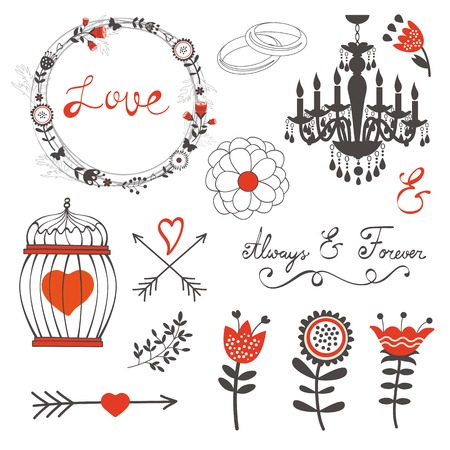 romatic: Beautiful love set with elegant frames, flowers and other graphic elements. Vector illustration