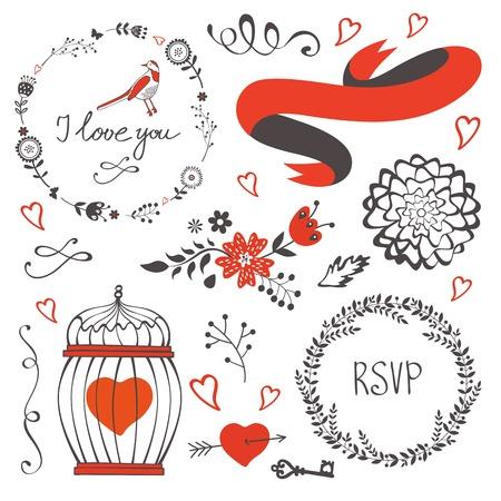 red swirl: Elegant set of grahic design elements. Vector illustration