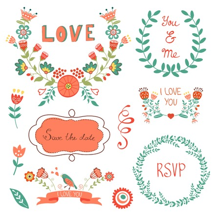 romatic: Elegant  floral graphic elements. Ideal for  wedding and birthday invitations, cards, postcards , save the date cards