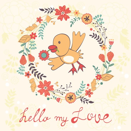 love bird: Hello my love card with bird in floral wreath. vector illustration