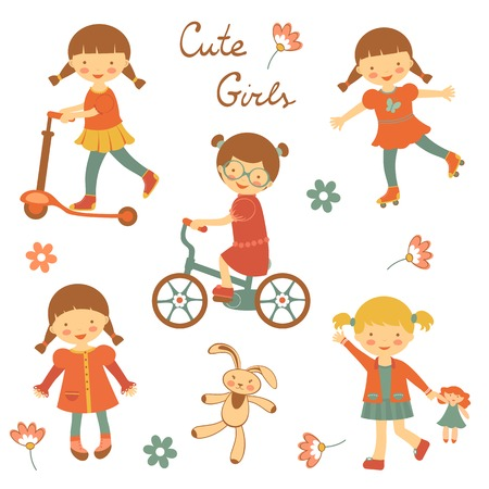 Colorful collection of cute little girls characters. vector illustration Illustration