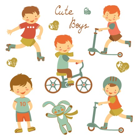 bycicle: Colorful collection of cute little boys characters. vector illustration