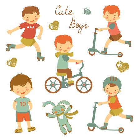 Colorida colección de lindos muchachos caracteres. ilustración vectorial