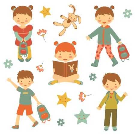Colorful collection of different kids characters. vector illustration