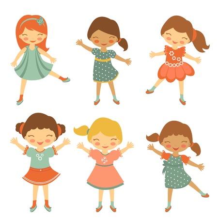 niños bailando: Colorida colección de pequeños caracteres lindos niñas. ilustración vectorial