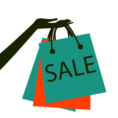 Concept card for sales. hand holding shopping bag with sale Vectores
