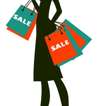 Silhouet van een vrouw winkelen in de verkoop. Vector illustratie