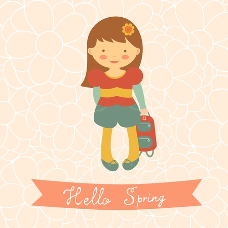 vector girl: Hello spring card with cute little girl. Vector illustration Illustration