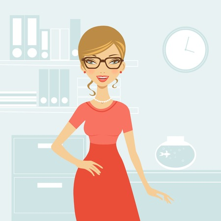 nude woman standing: Illustration of elegant beautiful business woman in vector format
