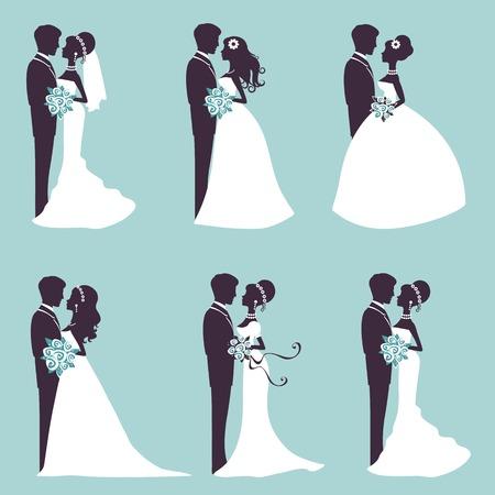 Illustratie van zes bruidsparen in silhouet in vector-formaat