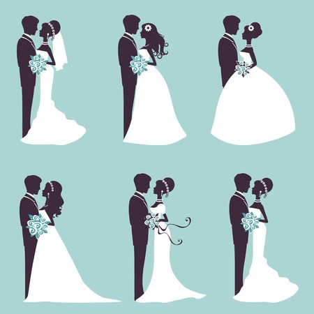 Illustration of Six wedding couples in silhouette in vector format Vettoriali