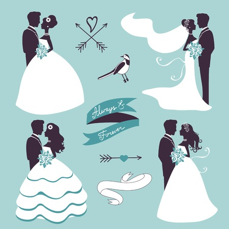 Set of elegant wedding couples in silhouette, ribbons and other graphic elements Vectores