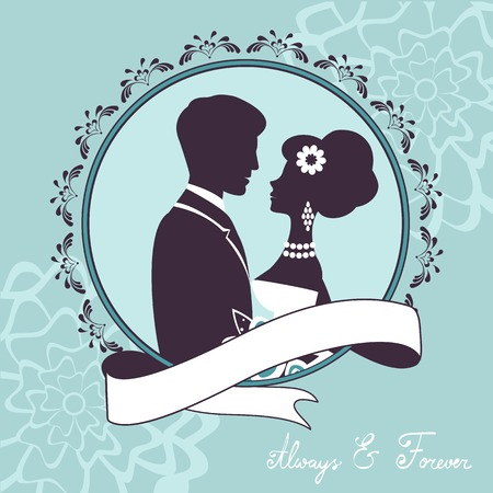 cartoon bouquet: Elegant wedding couple in silhouette. Wedding card  in vector format Illustration