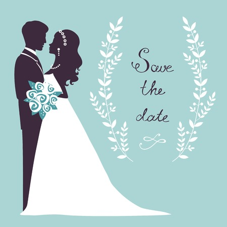 gown: Elegant wedding couple in silhouette. Save the date card  in vector format
