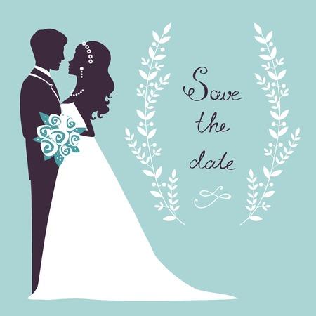 casados: Pareja de boda elegante en silueta. Ahorre la tarjeta de fecha en formato vectorial