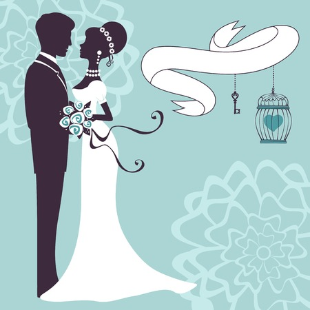 wedding couple: Elegante bruiloft paar in silhouet. Trouwkaart in vector-formaat