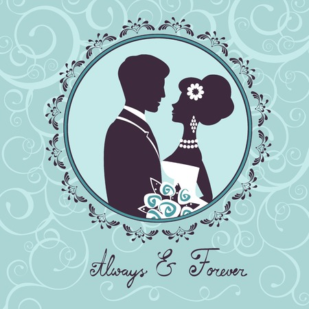 silhouette of female characters: Elegant wedding couple in silhouette. Wedding card  in vector format Illustration