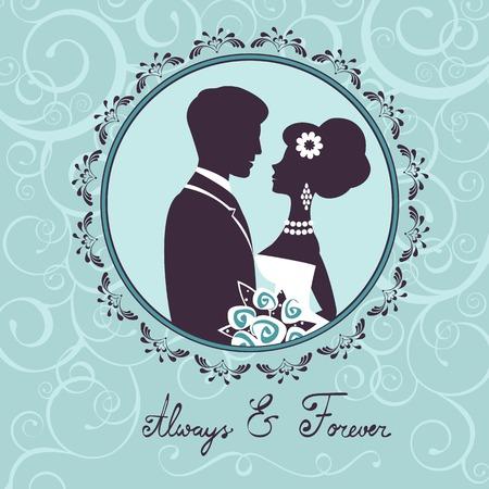 Elegante bruiloft paar in silhouet. Trouwkaart in vector-formaat Vector Illustratie
