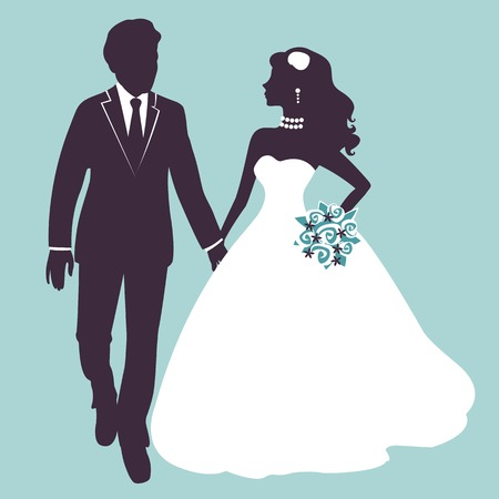 black people dancing: Elegant wedding couple in silhouette. Wedding card  in vector format Illustration