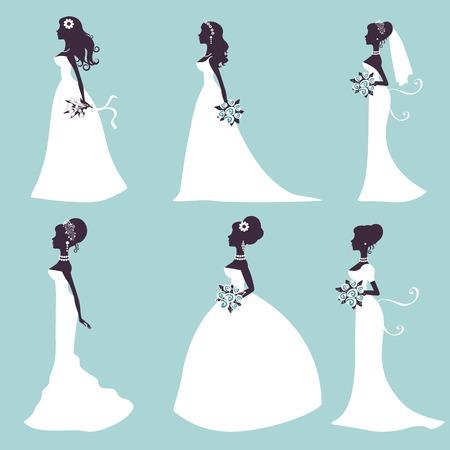 transparent dress: Set of elegant brides in silhouette. Vector illustration