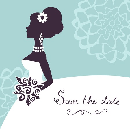 Illustration of beautiful bride with flowers. Save the date card