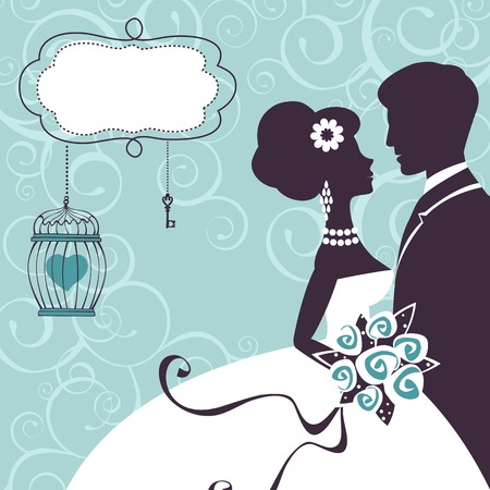 Elegant wedding couple in silhouette. Wedding card  in vector format Illustration