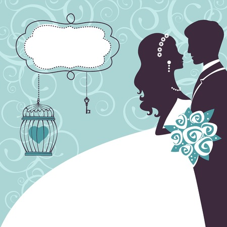 Elegant wedding couple in silhouette. Wedding card  in vector format Ilustrace