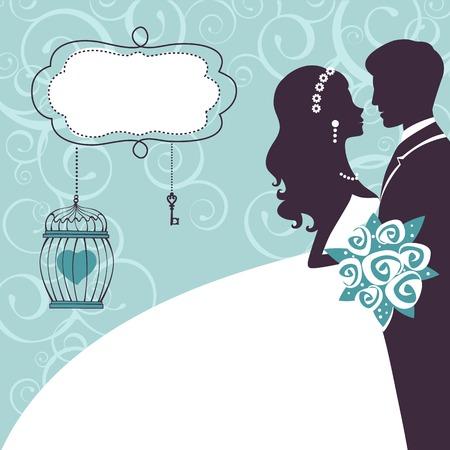 Elegante bruiloft paar in silhouet. Trouwkaart in vector-formaat