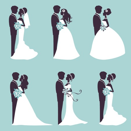Illustration of Six wedding couples in silhouette in vector format Иллюстрация