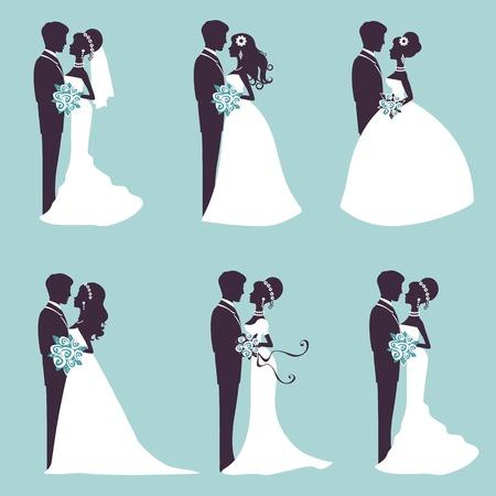 Ilustração de seis casais de casamento em silhueta em formato vetorial
