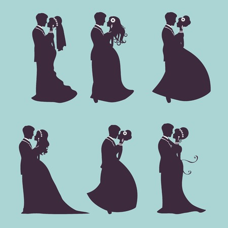 wedding couple silhouette: Illustration of Six wedding couples in silhouette in vector format Illustration