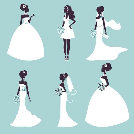 siluetas de mujeres: Conjunto de novias elegantes en silueta. Ilustraci�n vectorial