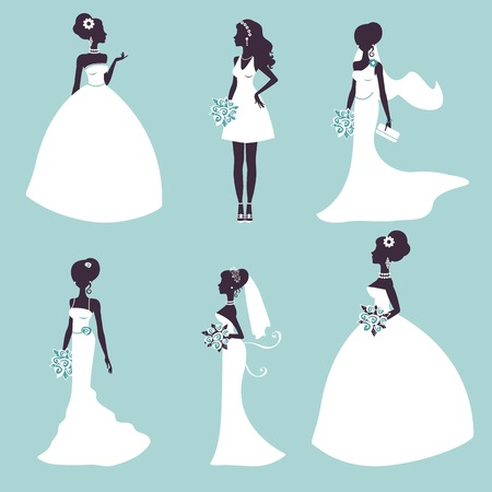 gown: Set of elegant brides in silhouette. Vector illustration