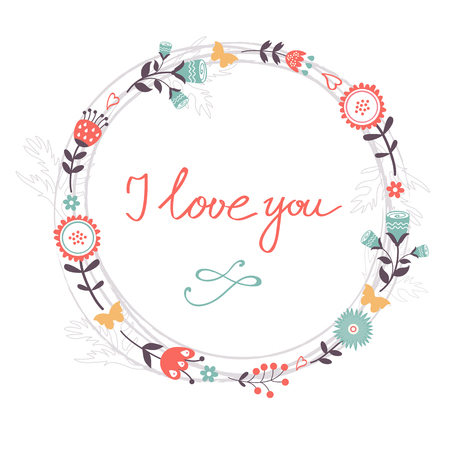 romatic: Beautiful romantic card with floral heart and handwritten I love you in floral wreath Illustration