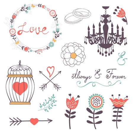 romatic: Elegant collection of romantic graphic elements. Ideal for wedding invitations, greeting cards and valentines day cards