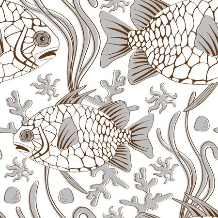 Colorful pinecone fish seamless pattern in vector format Vector