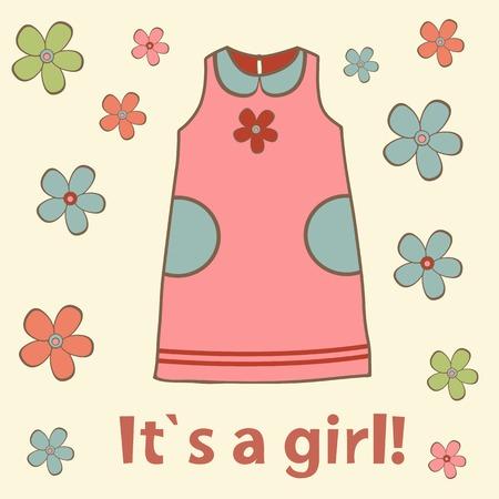 cartoon dress: Baby girl arrival card. New baby girl arrival announcement card. Vector illustration