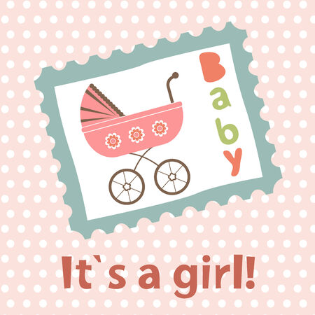 baby girl: Baby girl arrival card. New baby girl arrival announcement card. Vector illustration