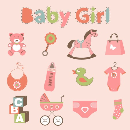 bodysuit: Baby girl related elements collection in vector format