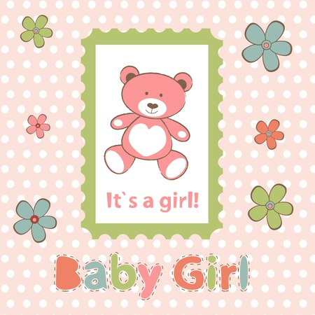new baby: Baby girl arrival card. New baby girl arrival announcement card. Vector illustration