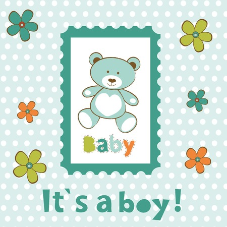 Baby boy card with cute teddy bear in frame. vector illustration Vector
