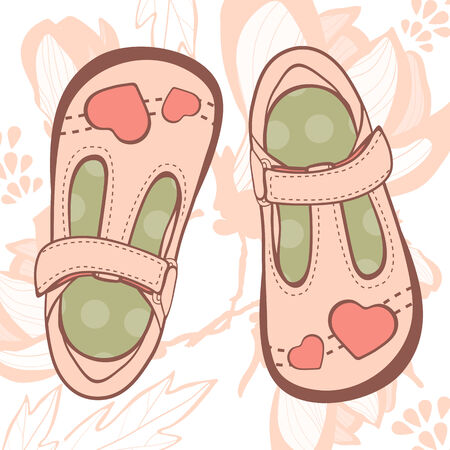 Illustration of beautiful baby girl shoes in vector format Illustration