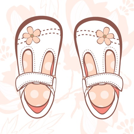 Illustration of beautiful baby girl shoes in vector format Vector