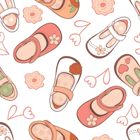 Seamless pattern with beautiful baby girl shoes in vector format