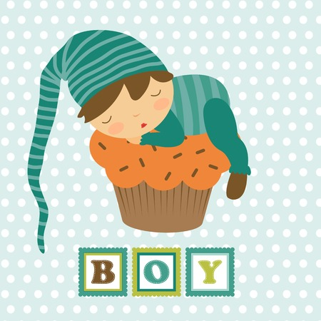 new baby: Baby boy card with adorable little boy sleeping. Vector illustration